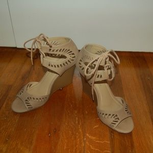 Wedge Ankle Tie Nude Shoes